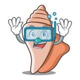 潜水的逗人喜爱的壳字符动画片 免版税库存照片