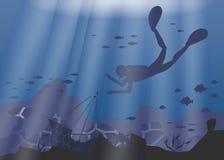 潜水者、珊瑚礁和水下的洞剪影在蓝色海背景 也corel凹道例证向量 皇族释放例证
