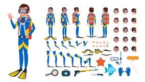 潜水者人传染媒介 生气蓬勃的字符创作集合 在水之下 轻潜水员 潜航的潜水 全长,前面,边 免版税图库摄影