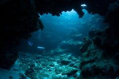 潜水者和水下的洞穴 库存照片