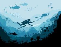 潜水者探险家和礁石水下的野生生物 向量例证