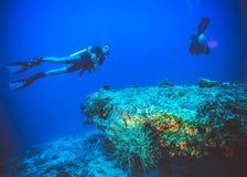 潜水者的水下的图象在珊瑚附近的 库存图片