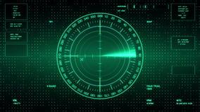 潜水艇和船的生波探侧器屏幕 有对象的雷达生波探侧器在地图 未来派HUD航海显示器 股票录像