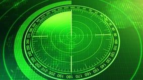潜水艇和船的生波探侧器屏幕 有对象的雷达生波探侧器在地图 股票视频