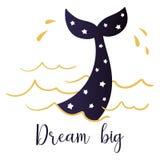 潜水鲸鱼的尾巴和大手写的题字的梦想 库存照片