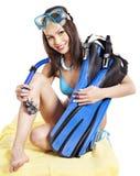 潜水齿轮女孩佩带 免版税库存照片
