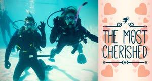 潜航做的夫妇的综合的图象 免版税库存照片