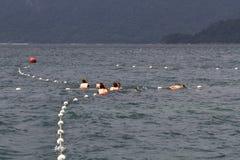 潜航在泰国中,背景,探索,旅行目的地,潜水的斑点点的温暖的绿松石水的一群人 免版税库存图片