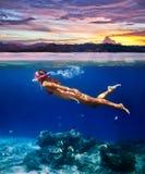 潜航在热带海a的一个少妇的水下的射击 免版税库存图片