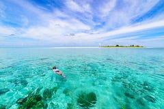 潜航在珊瑚礁热带加勒比海,土耳其玉色水的妇女 印度尼西亚Wakatobi群岛,海洋国立公园 免版税图库摄影