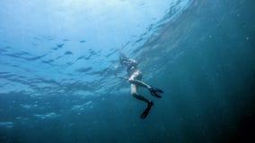 潜航在水面下深蓝色海 免版税库存图片