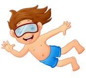 潜航的孩子挥动的手 免版税库存图片