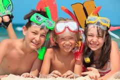 潜航的孩子 免版税库存图片