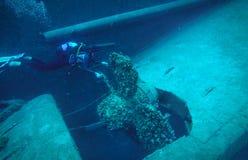 轻潜水员和一老schipwreck的巨大的推进器 免版税库存图片