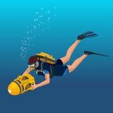轻潜水员被隔绝的极端潜水体育 免版税库存照片
