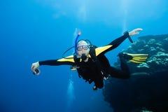 潜水员飞行 库存照片