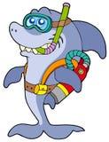 潜水员水肺鲨鱼 免版税库存照片