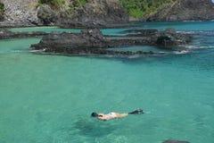 潜水在一个水晶海海滩在费尔南多・迪诺罗尼亚群岛 库存图片