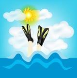 潜水在海边 免版税库存照片