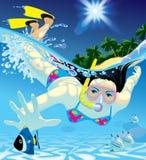 潜水女孩 库存照片