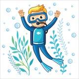 年轻潜水者游泳在水下 库存图片
