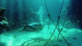 潜水者水中在锚链附近游泳在阳光下 潜水、冒险和危险一个美妙的世界在工作 股票录像