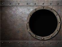 潜水艇或战舰舷窗蒸汽废物金属 库存照片
