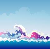 潮汐向量图形例证 免版税库存照片