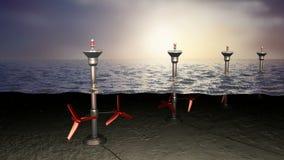 潮汐海能量,概念 向量例证