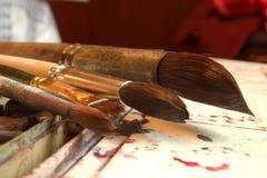 潮湿画笔的颜色 图库摄影