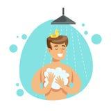 洗澡的人与在阵雨,一部分的肥皂的人在做他们的定期卫生学做法系列的卫生间里 库存例证