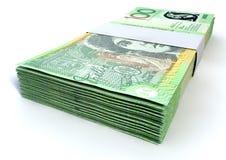 澳大利亚人一百美元笔记捆绑 库存照片