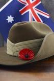 澳大利亚人安扎克天军队宽边软帽 免版税库存照片