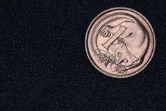 澳大利亚人的特写镜头1分硬币 库存图片