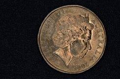 澳大利亚人的特写镜头1美元硬币 图库摄影