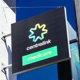 澳大利亚人Centrelink和医疗保障标志 库存照片