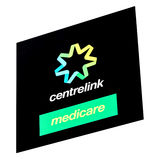 澳大利亚人Centrelink和医疗保障标志 免版税库存照片