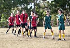 澳大利亚十几岁足球赛 库存图片