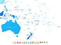 澳大利亚和大洋洲-地图和航海象-例证 免版税库存照片