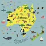 澳大利亚和新西兰的动物界地图  免版税库存照片