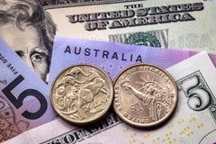 澳大利亚和美国金钱 库存照片