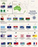 澳大利亚和Oceaniainclude澳大利西亚,密克罗尼西亚、美拉尼西亚和波里尼西亚映射与被隔绝的国家地图和旗子 库存图片