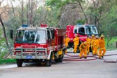 澳大利亚国家火当局消防队员在墨尔本 免版税库存照片
