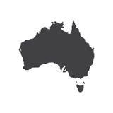 澳大利亚地图剪影例证 免版税图库摄影