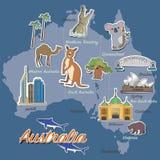 澳大利亚地图和旅行象 库存图片