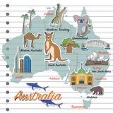澳大利亚地图和旅行象 库存照片