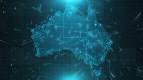 澳大利亚地图背景城市连接4K 库存例证