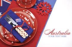 澳大利亚天、安扎克天或者澳大利亚公休日或全国事件餐桌餐位餐具与样品文本 免版税库存图片
