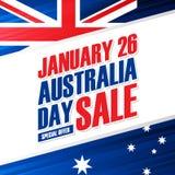 澳大利亚天, 1月26日假日销售与澳大利亚国旗颜色的特价优待背景事务的 库存图片