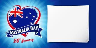 澳大利亚天1月26日、旗子和心脏蓝色横幅 免版税图库摄影